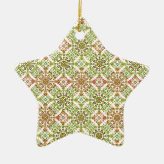 Ornamento De Cerâmica Boho floral estilizado colorido