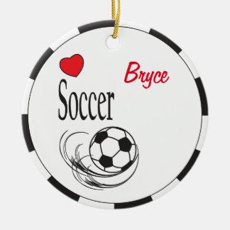 Ornamento De Cerâmica Bola de futebol vermelha do coração do amor