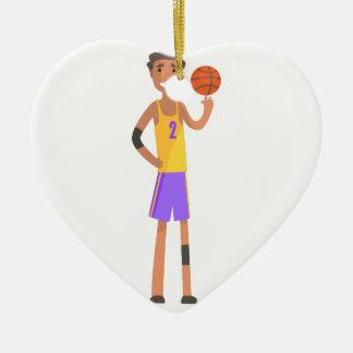 Ornamento De Cerâmica Bola de giro do jogador de basquetebol em uma ação