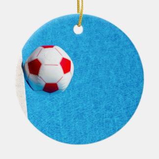 Ornamento De Cerâmica bola de praia Vermelho-branca que flutua na
