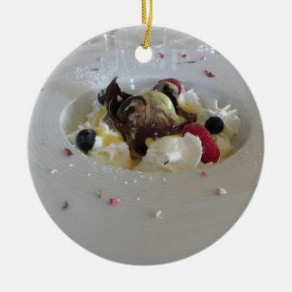Ornamento De Cerâmica Bola derretida do chocolate com creme do