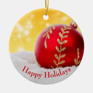 Ornamento De Cerâmica Bola do Natal da neve de Bokeh do Natal