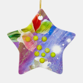 Ornamento De Cerâmica Bolas de tênis da gota dos lírios a comemorar.