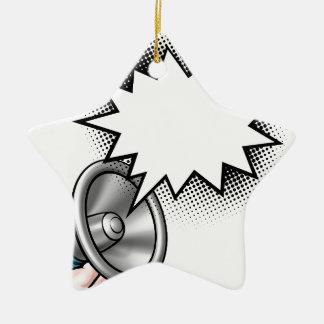 Ornamento De Cerâmica Bolha do discurso da banda desenhada do megafone