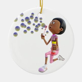 Ornamento De Cerâmica Bolhas de sopro da menina do afro-americano dos
