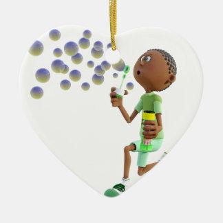 Ornamento De Cerâmica Bolhas de sopro do menino do afro-americano dos
