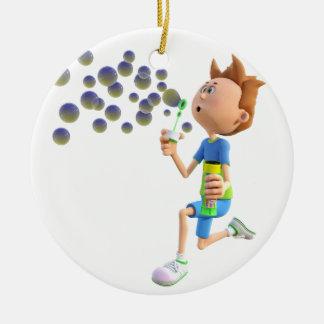 Ornamento De Cerâmica Bolhas de sopro do menino dos desenhos animados