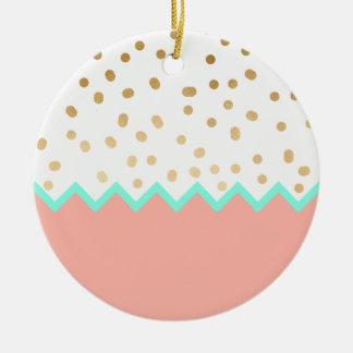 Ornamento De Cerâmica bolinhas bonitos hortelã e rosa do ouro do falso