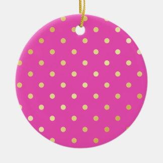 Ornamento De Cerâmica bolinhas elegantes do rosa do ouro do falso