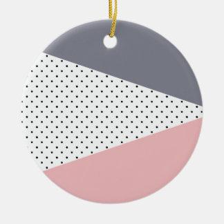 Ornamento De Cerâmica Bolinhas geométricas roxas elegantes do rosa