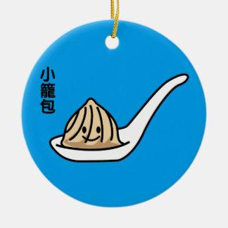 Ornamento De Cerâmica Bolo chinês de Dim Sum da bolinha de massa da sopa