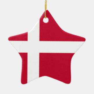 Ornamento De Cerâmica Bom impressão da bandeira de Dinamarca da cor