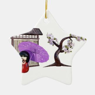 Ornamento De Cerâmica Boneca de Sakura com a árvore da parede e de