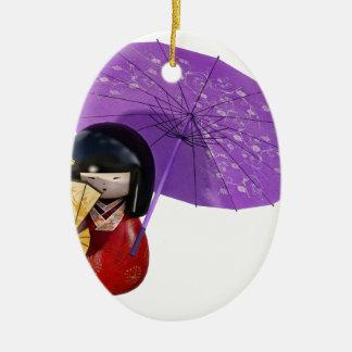 Ornamento De Cerâmica Boneca de Sakura com guarda-chuva