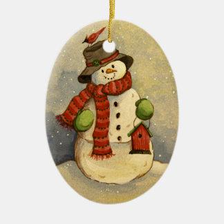 Ornamento De Cerâmica Boneco de neve 4905 & Natal do Birdhouse