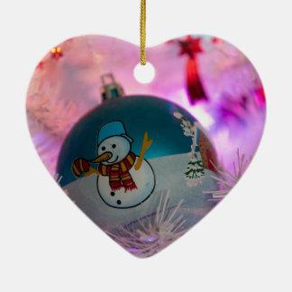 Ornamento De Cerâmica Boneco de neve - bolas do Natal - Feliz Natal