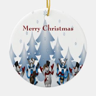 Ornamento De Cerâmica Boneco de neve bonito do Natal e banda da rena