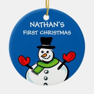 Ornamento De Cerâmica Boneco de neve bonito do ø Natal do bebê