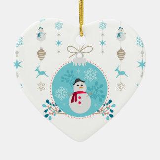 Ornamento De Cerâmica Boneco de neve com as decorações de suspensão do