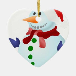 Ornamento De Cerâmica Boneco de neve decorado
