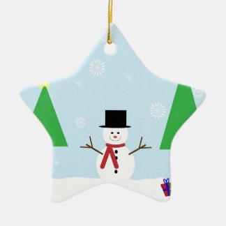 Ornamento De Cerâmica Boneco de neve do Natal
