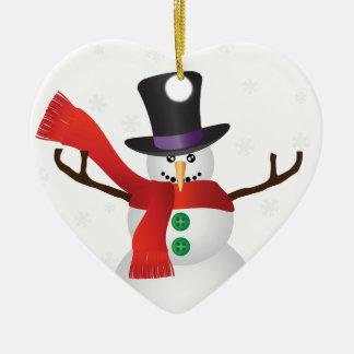 Ornamento De Cerâmica Boneco de neve do Natal com ilustração dos flocos
