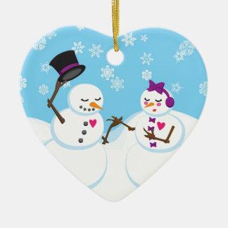 Ornamento De Cerâmica Boneco de neve e romance de Snowgirl