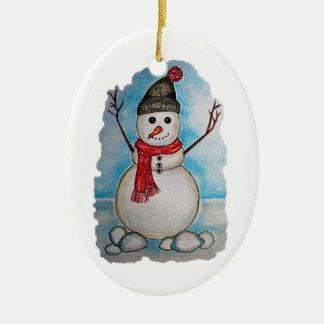 Ornamento De Cerâmica Boneco de neve lindo da aguarela com lenço e