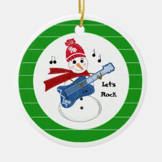 Ornamento De Cerâmica Boneco de neve que joga a guitarra elétrica da