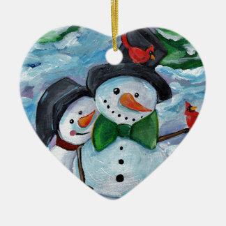 Ornamento De Cerâmica Bonecos de neve de visita cardinais