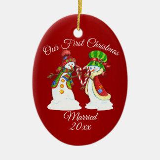 Ornamento De Cerâmica Bonecos de neve do feriado do Natal dos casais