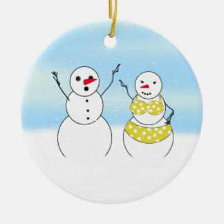 Ornamento De Cerâmica Bonecos de neve do tempo do biquini