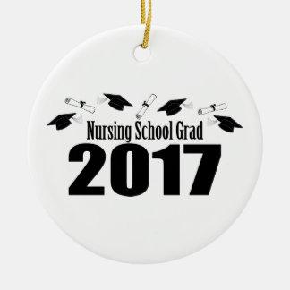 Ornamento De Cerâmica Bonés do formando 2017 da escola de cuidados e