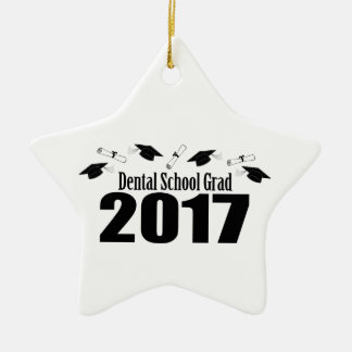 Ornamento De Cerâmica Bonés do formando 2017 da escola dental e diplomas