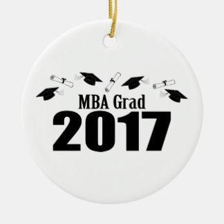 Ornamento De Cerâmica Bonés do formando 2017 de MBA e diplomas (preto)