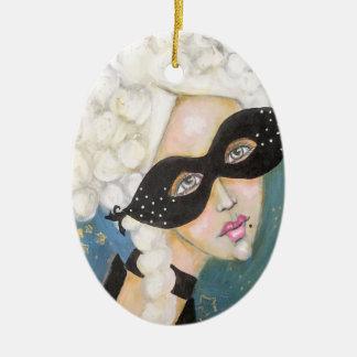 Ornamento De Cerâmica Bonito artístico do retrato lunático de Marie