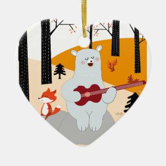 Ornamento De Cerâmica Bonito cante um lobo da raposa da canção do verão