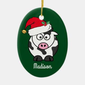 Ornamento De Cerâmica Bonito da vaca do Natal personalizado