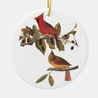 Ornamento De Cerâmica Bookplate de Audubon do vintage dos pássaros do