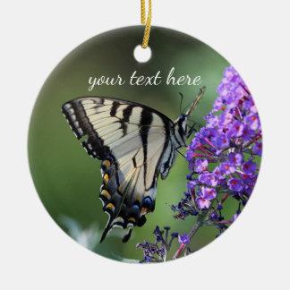 Ornamento De Cerâmica Borboleta amarela do swallowtail