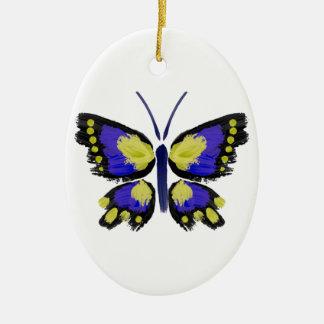 Ornamento De Cerâmica Borboleta azul e amarela
