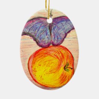 Ornamento De Cerâmica Borboleta e Apple