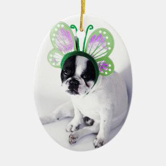 Ornamento De Cerâmica Borboleta preto e branco do cão engraçado de Bull