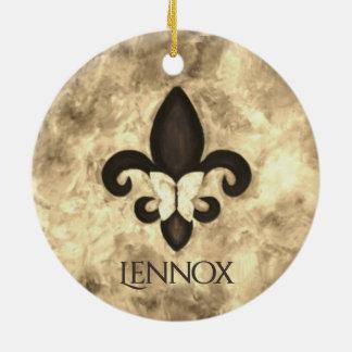 Ornamento De Cerâmica Borboleta teimoso Fleur Lis de Brown do Sepia do