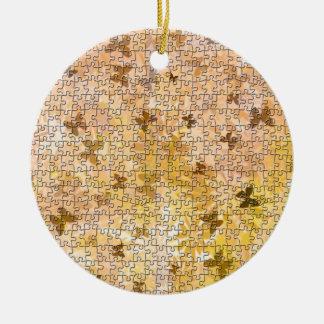 Ornamento De Cerâmica Borboletas e Margarida-Marrons do quebra-cabeça