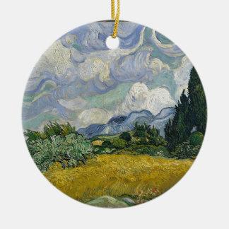 Ornamento De Cerâmica Bosque de Cypress e campo de trigo