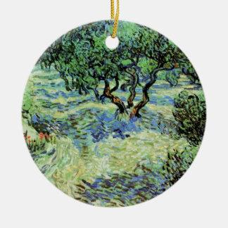 Ornamento De Cerâmica Bosque verde-oliva de Van Gogh, belas artes das