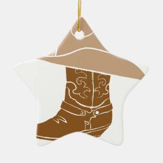 Ornamento De Cerâmica Bota e chapéu de vaqueiro