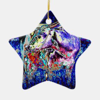 Ornamento De Cerâmica Bovídeos no azul