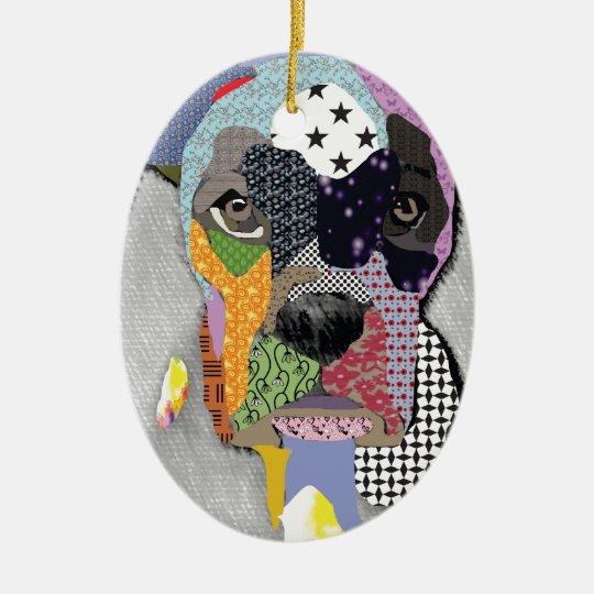 Ornamento De Cerâmica Boxer Portrait